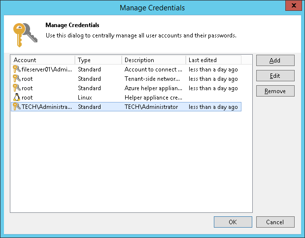 Veeam Backup & Replication Credentials Manager